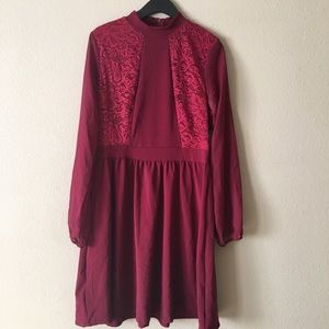 Charlotte Russe Burgundy Long Sleeve Dress